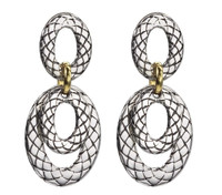 18Kt/Sterling Silver Traversa Double Flat Hanging Earring