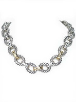 18Kt/Sterling Silver Traversa Oval Necklace