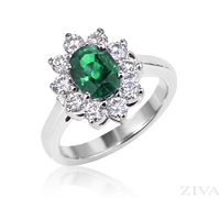 Ziva Emerald Ring with Diamonds Around