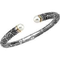 Sterling Silver & 14K Yellow 8-8.5mm Freshwater Cultured Pearl Cuff Bracelet