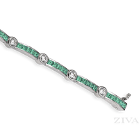 Ziva Square Emerald & Diamond Bracelet