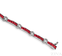 Ziva Square Ruby & Diamond Bracelet