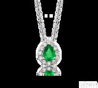 Ziva Pear Emerald Pendant with Diamond Halo