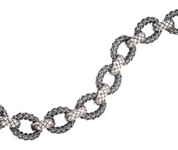 Sterling Silver Bracelet Large Oval Cortona Braid Links