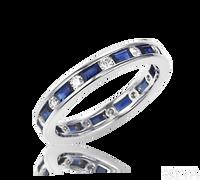 Ziva Baguette Sapphire & Round Diamond Eternity Ring