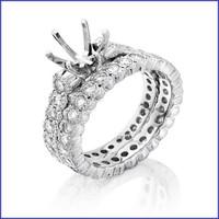 Gregorio 18K White Diamond Engagement Ring & Band H-899