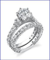 Gregorio 18K WG Diamond Engagement Ring Set R-383E-1