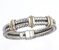18Kt/Sterling Silver Double Row Two Tone Traversa Bangle