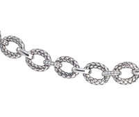 Sterling Silver Large Oval Traversa Link Bracelet
