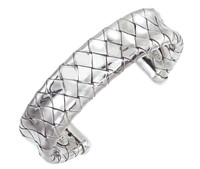 Sterling Silver Wide Traversa Cuff Bangle