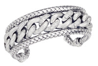 Sterling Silver Wide Cuff Bangle With 2 Rows Traversa