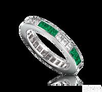 Ziva Square Emerald & Diamond Eternity Band