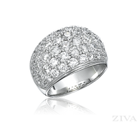 Ziva Large Domed Pave Diamond Band