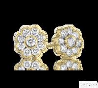 Ziva Flower Diamond Earrings in Yellow Gold