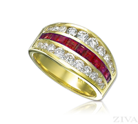 Ziva 3-Row Ruby & Diamond Anniversary Band