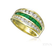 Ziva 3-Row Emerald & Diamond Anniversary Band