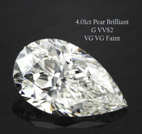4.01 Carat G/VVS2 Pear Cut Diamond (GIA Certified)