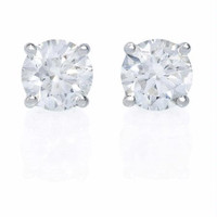 2.0 Ctw Diamond Stud Earrings I-J SI-I1 (14k White Gold)