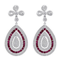 18K WG Ruby & Diamond Earrings KE717WRB-18K