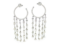 18K WG & 8.18 ct Diamond Hoop Tassel Earring