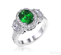Ziva Vintage Emerald Ring with Moon Shape, Pave Diamonds & Filigree