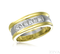 Ziva Men's Wedding Band with Princess Cut Diamonds