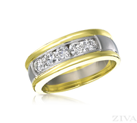 Ziva Men's Two Tone Diamond Wedding Band