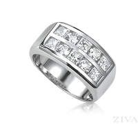 Ziva Men's Ring with Square & Round Diamonds