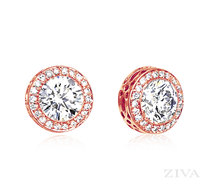 Ziva Bezel Set Diamond Earrings with Halo in Rose Gold