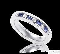 Ziva Baguette Sapphire & Diamond Wedding Band