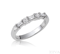 Ziva Baguette & Round Diamond Wedding Band