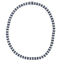 2.58ct Diamond & 24.86ct Ceylon Sapphire Necklace