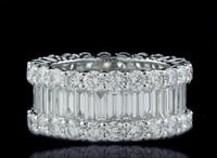 7.88 Carat G/VS Emerald & Round Diamond Eternity Ring ADR10993