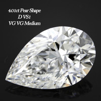 4.01 Carat D/VS1 Pear Cut Diamond (GIA Certified)
