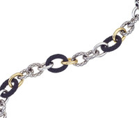18Kt/Sterling Silver Traversa, Shiny & Ultra Black Link Bracelet