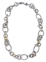 18Kt/Sterling Silver Round & Oval Link Necklace