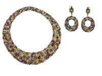 Multi Color Sapphire & 4.82 ct Diamond Earring/Necklace Set