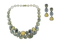 Multi Color Sapphire & 17.83 ct Diamond Earring/Necklace Set