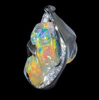 """Mousson Atelier Spectrum Collection Opal & Diamond Pendant """"Flame"""" P0028-0/2"""