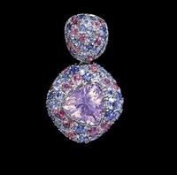 Mousson Atelier Riviera Gold Lavender Quartz & Sapphire Pendant P0073-0/1