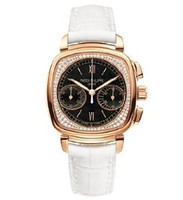 Patek Philippe Ladies First Chronograph 7071R Black Dial (RG- Diamonds/Black/White Leather Strap)