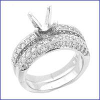 Gregorio 18K WG Solid Ladies Diamond Engagement Ring R-3262