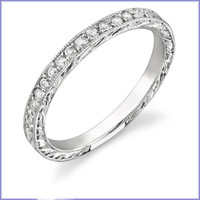 Gregorio 18K WG Engraved Diamond Engagement Band R-141B-1