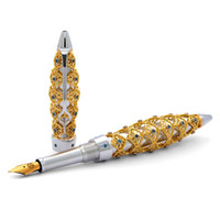Jack Row Jaali 18ct White & Yellow Gold & Petrol Blue Diamond Pens
