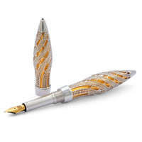 Jack Row Architect Fountain Pen: Silver Black Diamonds