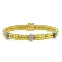 Herco Diamond & Gold Basketweave Bangles 18BCBR29YD