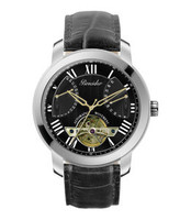 Pineider Calendar with skeleton hands black dial