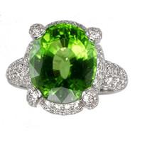Peridot & 2.00 ct Diamond Ring