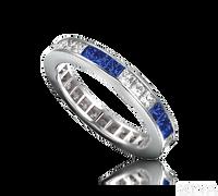Ziva Square Sapphire & Diamond Eternity Band