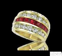 Ziva Large Ruby & Diamond Anniversary Band
